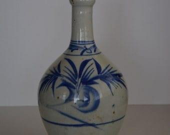 Ceramic tokkuri sake flask,large, vintage Japanese