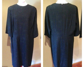 Vintage 1950s Black Crushed Black Acetate Dress - XL
