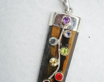 Tiger eye crystal, tiger eye necklace necklace, Chakra pendant, Chakra necklace, tiger eye jewelry, Chakra jewelry, garnet, amethyst,peridot