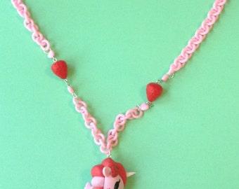 Ruby - Tokidoki Strawberry Unicorn Necklace on Pastel Pink Chain