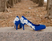SALE - Blue Heels, Low Wedding Shoes, Lace Heels, Blue Pumps, Blue Wedding Heels, Bridal Shoes, Blue Pumps with Ivory Lace. US size 9