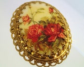 FREE Shipping Vintage Red Roses West Germany Brooch Sugar Beads Micro Flocked Picture Tile Oval on Brass Filigree Pin
