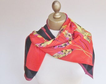 Silk square scarf, Marja Kurki, vintage silk scarf, Finnish fashion, 80s silk scarf, vibrant floral scarf, Finnish designer, hand rolled