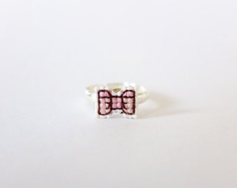 Pink tiny ribbon bow cross stitch ring, gifts for her, gifts under 15, embroidery bow ring, ribbon ring