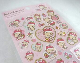 Kawaii Japan Sticker Sheet Assort: Rilakkuma Korilakkuma Pearlescent Strawberry Series PINK with Gold Metallic Edges Kiirotori Yellow Bird