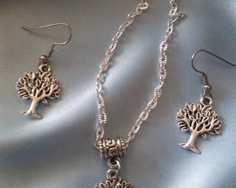 Necklace and Earring Set *~Tree of Life * Tibetan Silver Charms * Silver Plated Chain