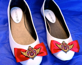 Handmade Sailor Moon inspired Embroidered Flats