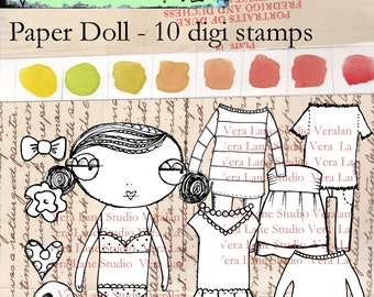 Digi Stamp Paper Doll Set - 10 images with paper doll and interchangeable outfits