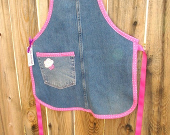 Jean Girl Apron - Recycled Denim Girls Apron - Pink and Blue Size 8