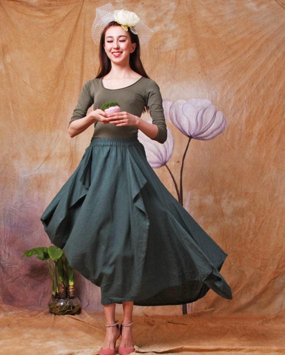 linen skirt cotton skirts asymmetric elastic waist  skirt in color green and red