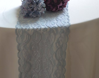 "Light Blue Lace Trim 8"" wide  by 120"" length / Table Runner Lace / Wedding Decor / Clothing / Powder Blue lace"