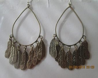 Gold Tone Teardrop Hoop  Earrings with Gold Tone Leaf Charms Dangles