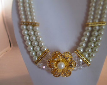 3 Strand White Pearl Choker Necklace with a Gold and Rhinestone Pendant and Crystal Beads