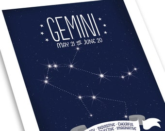 Gemini Constellation Print • White on Midnight Blue - Positive Traits • Astrological Sign Art