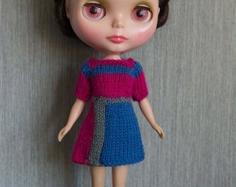 Clearance:  Blythe doll sized mod style short sleeved colourblock hot pink knit dress for Blythe, Pullip, Dal. Licca, Barbie or similar