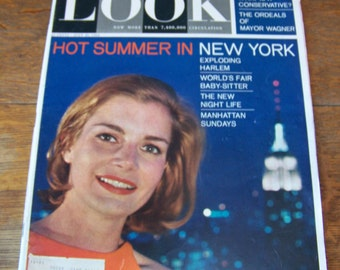 """Vintage Look Magazine July 28, 1964.Manhattan and Harlem, New York. """"What is a Liberal? What is a Conservative? World's Fair Baby-Sitter."""