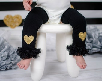 Baby Girl Leg Warmers Black Gold Glitter Heart Leggings Baby Girl Clothes Newborn and Regular Size
