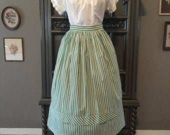 50s Green Striped Cotton Skirt