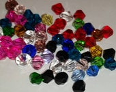 6mm Bicone crystal beads - mixed colors