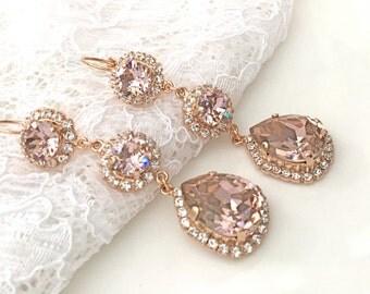 Blush Earrings Blush Pink Teardrop Pink Blush Bridesmaids Pink Wedding Morganite Pink Swarovski Crystal Rose Gold Bridal Chandelier Earrings