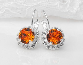 Orange Earrings Bright Orange Hot Orange Tangerine Orange Bridesmaids Orange Wedding Neon Orange Swarovski Crystal Silver Bridal Earrings