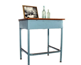 Vintage School Desk - Metal Desk - Repurposed Furniture - Industrial Furniture - Bedside Table - End Table - Aqua - Homeschool