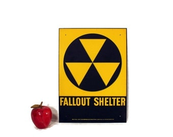 Vintage 1960s Fallout Shelter Sign - Industrial Galvanized Metal - Cold War - Reflective - Black - Yellow - New Old Stock