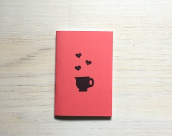 Small Notebook: Fall, Stocking Stuffer, Mug, Tea, Coffee, Coral, Cute, Hipster, Favor, Unique, Cute Notebook, Journal, Notebook, II117/803x3