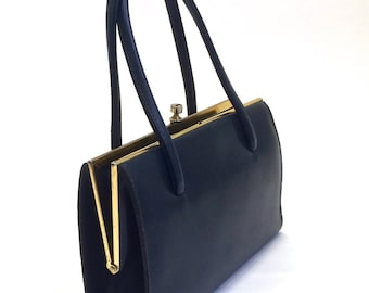 1960's Purse - Boots Freedex Faux Leather - 60's Bag - Airforce Blue Vintage Handbag - Goldtone Metal Elbief England Frame - Mad Men