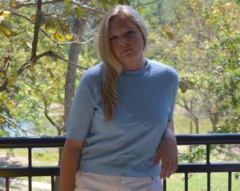 Light Blue Women's Sweater, Vintage Ladies' Shirt, Mad Men, Short Sleeved Sweater, Pullover Sweater, Size Medium