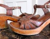 1970s Leather & Wood Shoes - Sandals - Heels - Platform - Brass Detail