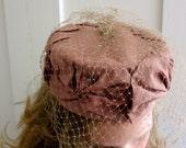 60s Vintage Pillbox Hat - Folded Taffeta Fabric - Bows - Net Veil - Wedding - Brown