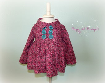 Toddler Peacoat, Toddler Jacket, Baby Jacket, Baby Coat, Girls Peacoat, Baby Peacoat, Vintage Inspired Coat, 2T