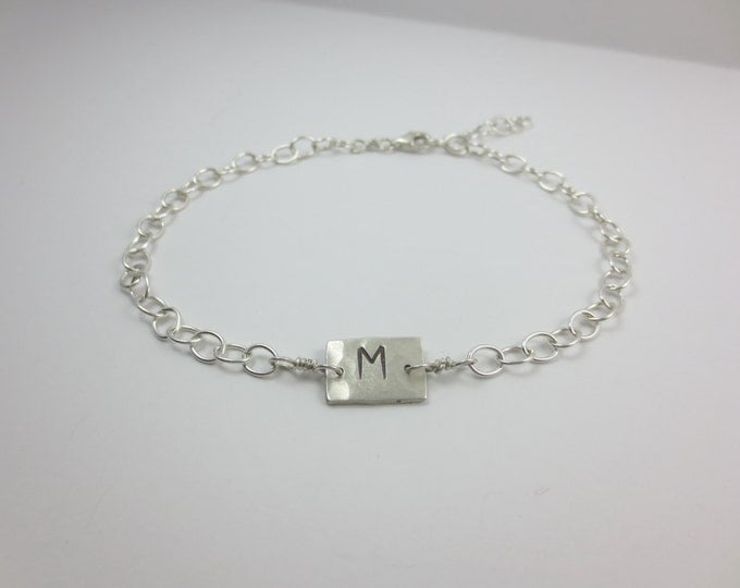 Initial Charm Bracelet - Anklet - Hand Cut - Hand Hammered - Hand Stamped - Lg Cable Chain - Sterling Silver