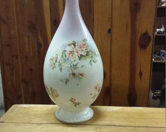 """Vintage Limoges France Vase, Rose Design, 13"""" High"""