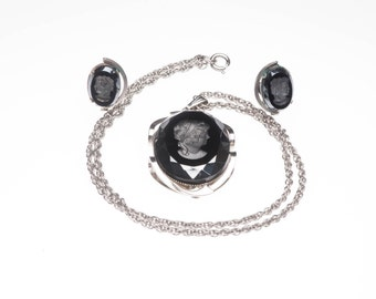 Vintage Black Hematite Intaglio Silver Cameo Pendant and Earrings