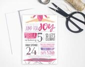 "Gymnastics Birthday Party Invitation //  Printable or Printed custom 5x7"" invitation"