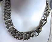 Vintage Fob Chain Silver Choker, Massive Barrel Scroll Links, Goth Steampunk Necklace, Large Watch Chain Hook, Dog Collar