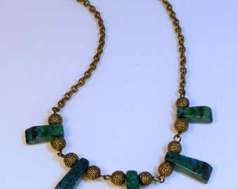 5 PENDANT CHRYSOCOLLA Antique Brass Necklace
