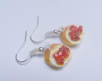 Food Jewelry Bruschetta Earrings, Miniature Food Jewelry Mini Food Jewellery Antipasto Bruschetta Jewelry Italian Food Earrings Polymer clay