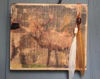 Elk Print on Wood