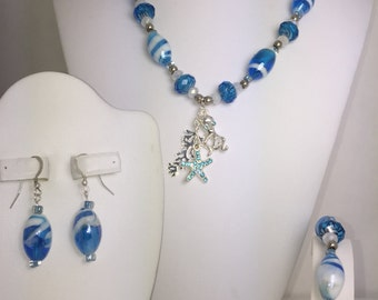 Ocean Waves Blue and White Jewelry Set with Cute Sea Creatures!