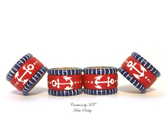 Anchor Nautical Napkin Rings Hand Painted