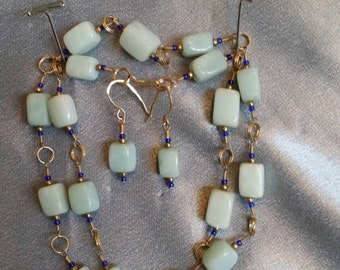 Amazonite Gemstone necklace & earring set, wire wrap gold fill, cobalt blue glass seed bead accents (#455)