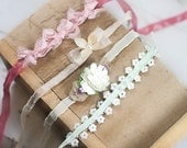 Miss Dainty 4 Pack  - dainty tiebacks in pale peach, cream, ivory, lavender, mint, salmon, and coral pink (RTS)