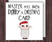 Dobby Xmas. Harry Potter Christmas Card. Geek Blank Card. Funny Greetings Card.