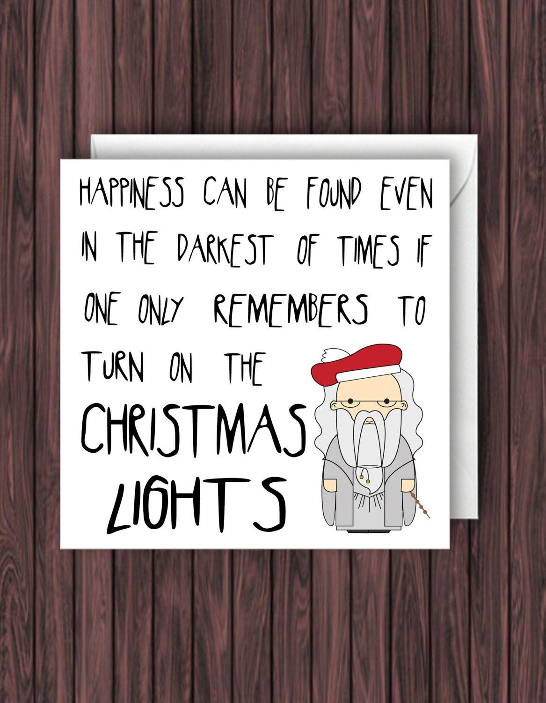 Christmas Lights. Harry Potter Christmas Card. Geek Blank