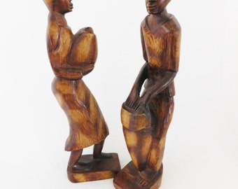 Wooden Haiti Figures, Man and Woman Statues, Wooden Sculpture, Wooden Figurine,Haitian Sculpture