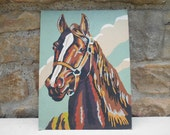 Vintage Paint By Number Horse Equine Equestrian Retro Wall Art Decor Oil Paiting Unframed