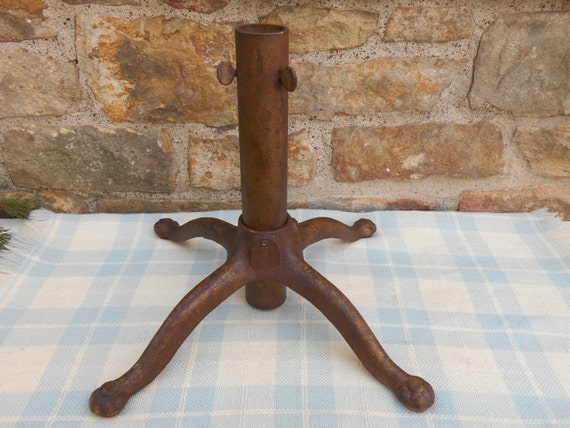 Cast Iron Metal Flag Pole Holder Tree Stand Table Top